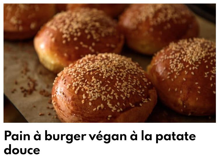 Pain burger patate douce